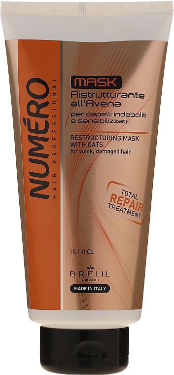 Restrukturierende Haarmaske mit Haferextrakt für schwaches und strapaziertes Haar - Brelil Numero Total Repair Mask