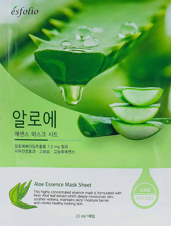 Feuchtigkeitsspendende und beruhigende Tuchmaske für das Gesicht mit Aloe Vera-Extrakt - Esfolio Aloe Essence Mask Sheet