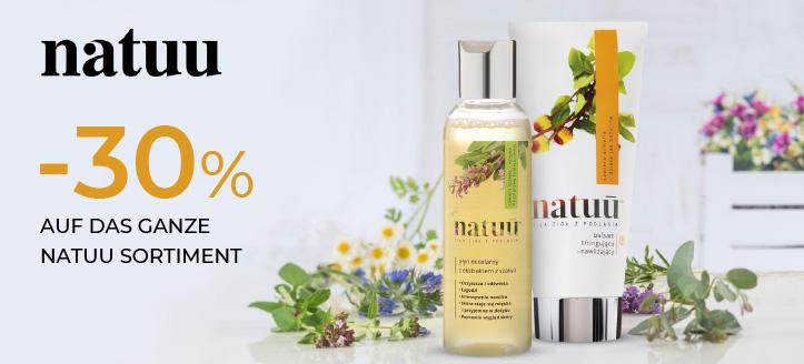 30% Rabatt auf das ganze Natuu Sortiment. Die Preise auf der Website sind inklusive Rabatt