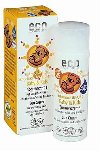 Sonnenschutzcreme mit Granatapfel und Sanddorn für Babys und Kinder SPF 45 - Eco Cosmetics Baby Sun Cream SPF 45