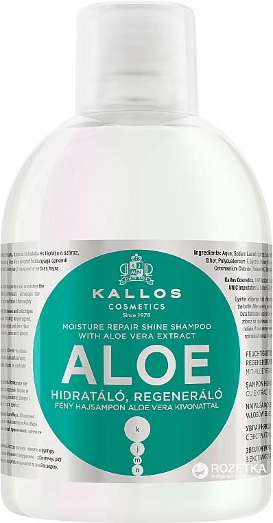 Feuchtigkeitsspendendes, regenerierendes Shampoo für trockenes und brüchiges Haar mit Aloe Vera Extrakt - Kallos Cosmetics Aloe Vera Full Repair Shampoo