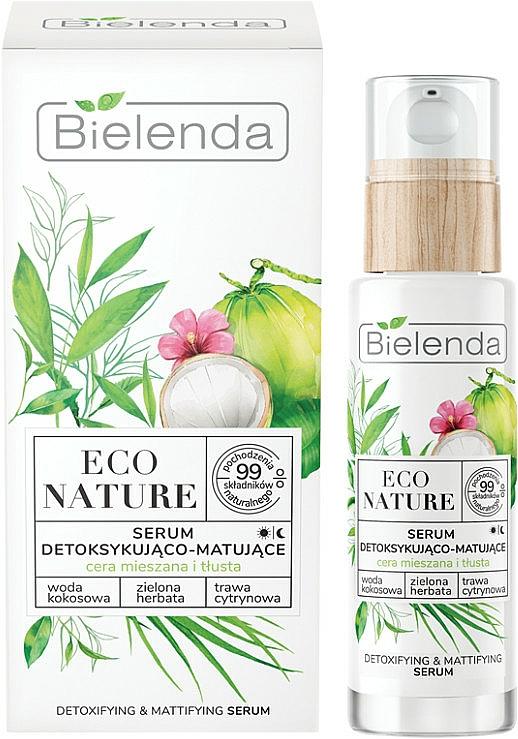 Gesichtsserum mit Kokoswasser und Zitronengras - Bielenda Eco Nature Coconut Water Green Tea & Lemongrass Detox & Mattifyng Serum