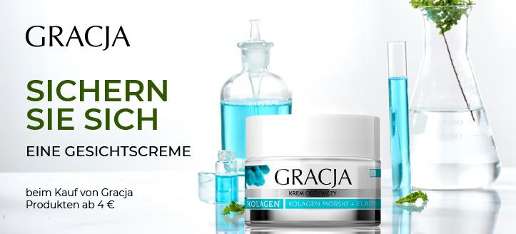 Beim Kauf von Gracja Produkten ab 4 € bekommen Sie eine nährende Gesichtscreme mit Kollagen geschenkt