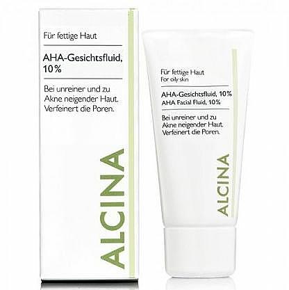 Porenverfeinerndes Gesichtsfluid mit 10% Fruchtsäuren für fettige, unreine und zu Akne neigende Haut - Alcina Fm Aha Fluid