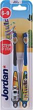 Düfte, Parfümerie und Kosmetik Kinderzahnbürste 6-9 Jahre weich Step By Step 2 St. blau+grau - Jordan Step By Step Soft