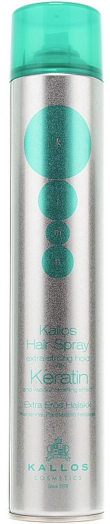 Haarlack mit Keratin und Seidenprotein Extra starker Halt - Kallos Cosmetics Hair Spray Extra Strong Hold With Keratin and vapour repelling effect