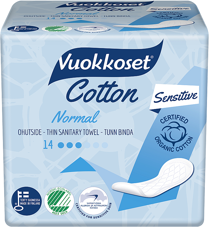 Damenbinden 14 St. - Vuokkoset Cotton Normal Sensitive