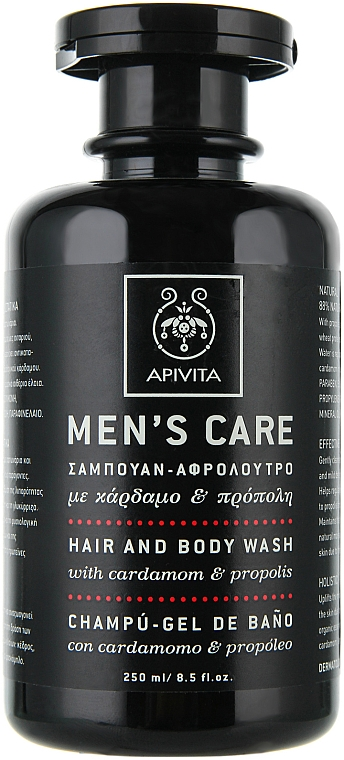 Haar- und Kärpershampoo mit Kardamom und Propolis - Apivita Men Men's Care Hair and Body Wash With Cardamom & Propolis