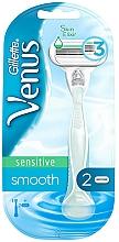 Düfte, Parfümerie und Kosmetik Damenrasierer mit 2 Ersatzklingen blau - Gillette Venus Smooth Sensitive