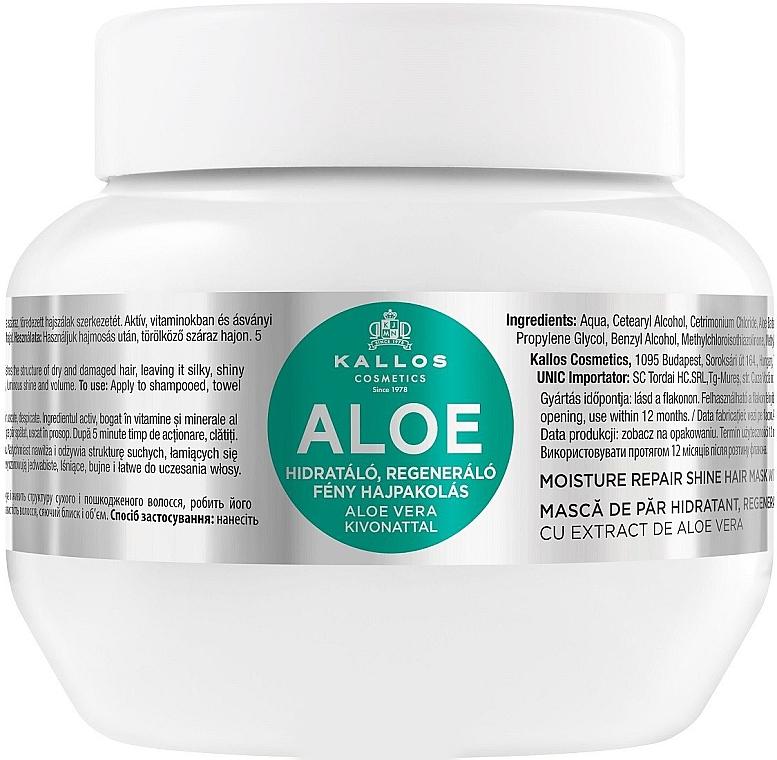 """Feuchtigkeitsspendende und regenerierende Maske für trockenes und strapaziertes Haar """"Aloe"""" - Kallos Cosmetics Moisture Repair Aloe Hair Mask"""