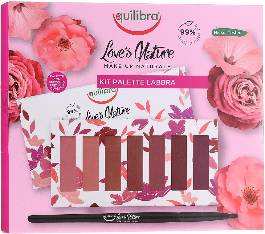 Lippenpflegeset (Lippenstift 7x1g + Lippenpinsel 1St.) - Equilibra Love's Nature Lip Palette Kit
