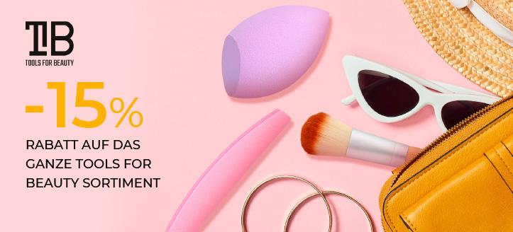-15% Rabatt auf das ganze Tools For Beauty Sortiment. Die Preise auf der Website sind inklusive Rabbatte