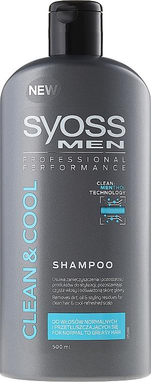 Shampoo für normales bis fettiges Haar - Syoss Men Cool & Clean Shampoon — Bild N1