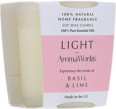 Düfte, Parfümerie und Kosmetik Soja-Duftkerze im Glas mit Basilikum- und Limettenduft - AromaWorks Light Range Basil & Lime Candle