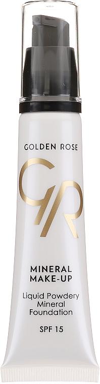 Flüssige Mineral-Foundation mit Vitaminen A & E LSF 15 - Golden Rose Liquid Powdery Mineral Foundation