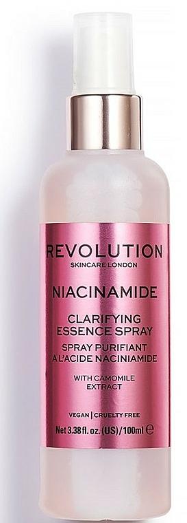 Feuchtigkeitsspendendes Gesichtsspray mit Kamillen-Extrakt und Vitamin B3 - Makeup Revolution Niacinamide Clarifying Essence Spray