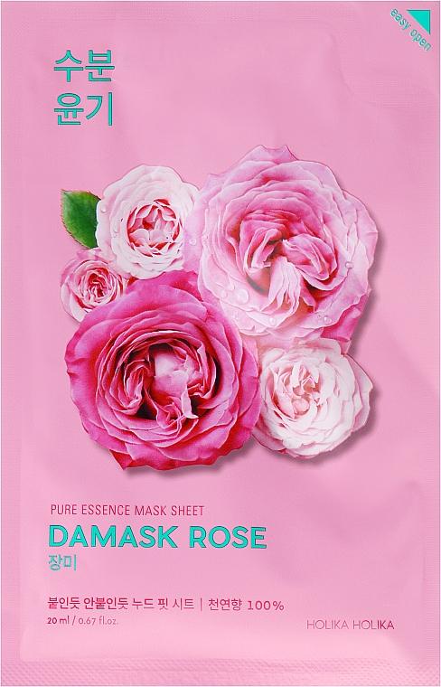 Feuchtigkeitsspendende und aufhellende Gesichtsmaske mit Damaszener Rose - Holika Holika Pure Essence Mask Sheet Damask Rose