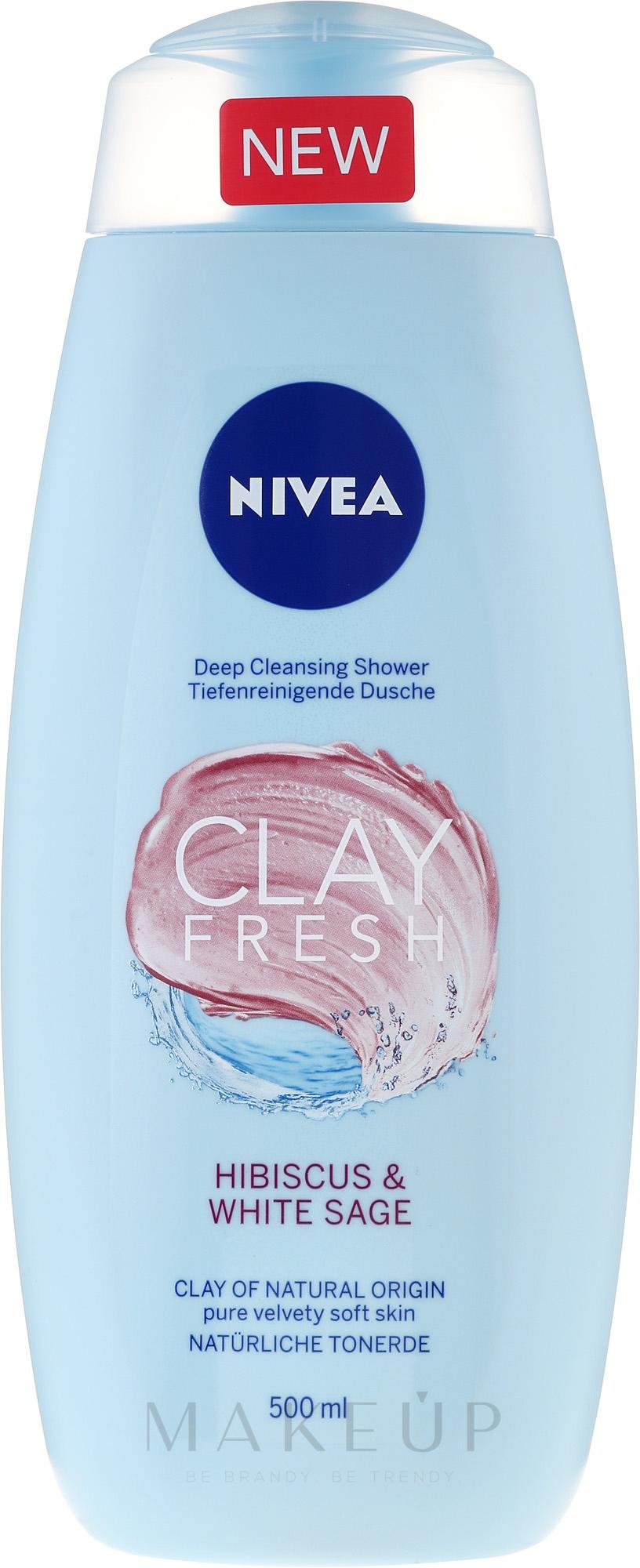 """Duschgel für weiche Haut """"Hibiskus und Weißer Salbei"""" - Nivea Clay Fresh Hibiscus & White Sage — Bild 500 ml"""