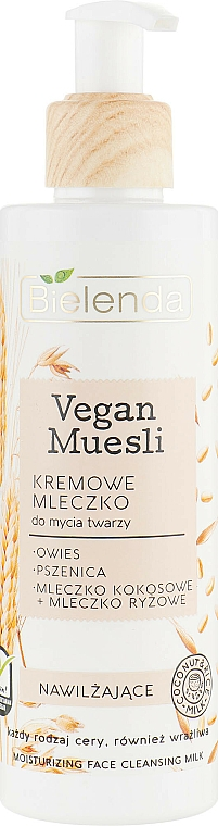 Feuchtigkeitsspendende Gesichtsreinigungsmilch mit Hafer, Weizen, Reis- und Kokosmilch - Bielenda Vegan Muesli Moisturizing Face Cleaning Milk
