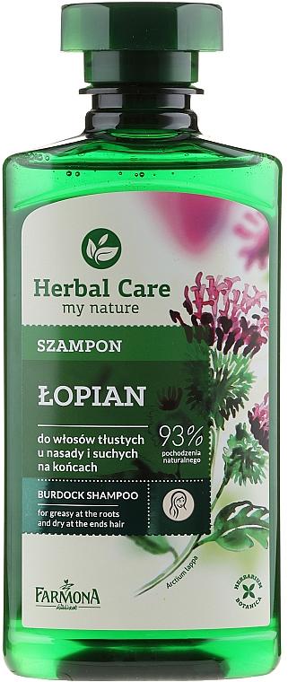 Shampoo für fettigen Ansatz und trockene Spitzen mit Klette - Farmona Herbal Care Shampoo