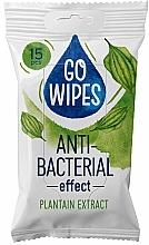 Düfte, Parfümerie und Kosmetik Antibakterielle Feuchttücher mit Wegerich-Extrakt 15 St. - Go Wipes Anti-Bacterial Effect Plantain Extract
