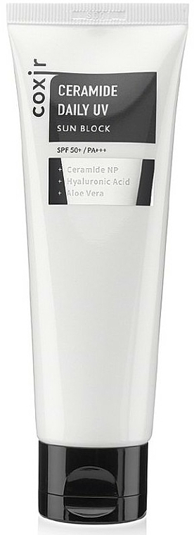 Sonnenschutzcreme für das Gesicht mit Ceramiden, Hyaluronsäure und Aloe Vera - Coxir Ceramide Daily UV Sun Block