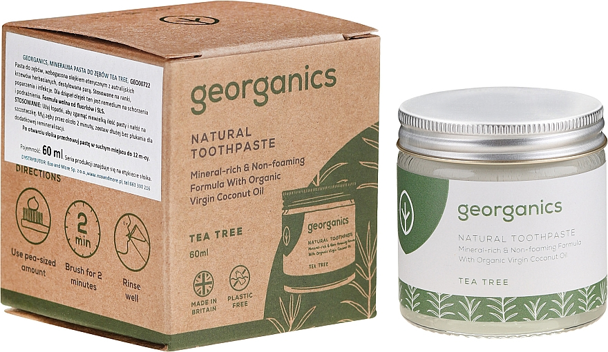 Natürliche Zahnpasta mit Teebaum-Geschmack - Georganics Tea Tree Natural Toothpaste