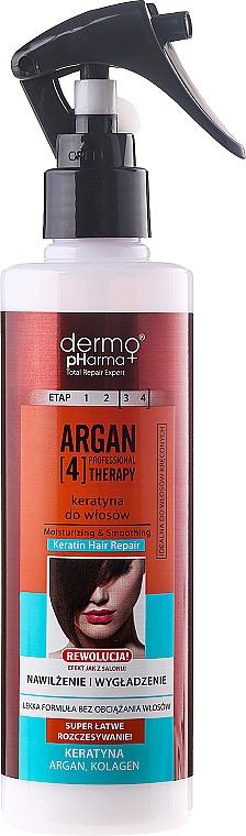 Feuchtigkeitsspendendes und glättendes Haarspray mit Keratin - Dermo Pharma Argan Professional 4 Therapy Moisturizing & Smoothing Keratin Hair Repair
