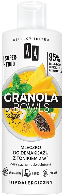 2in1 Milch und Tonikum zum Abschminken mit Amarantus, Mango und Papaya - AA Granola Bowls Makeup Remover Milk And Tonic 2 in 1
