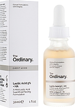 Düfte, Parfümerie und Kosmetik Peeling-Serum für das Gesicht mit Hyaluron- und Milchsäure - The Ordinary Lactic Acid 5% + HA 2%