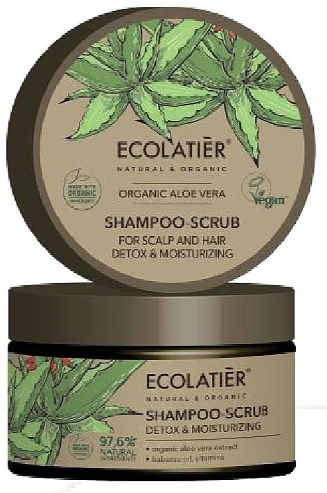 Entgiftendes Haar- und Kopfhaut-Peelingshampoo mit Bio-Aloe-Vera-Extrakt, Babassuöl und Vitaminen - Ecolatier Organic Aloe Vera Shampoo-Scrub