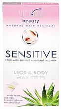 Düfte, Parfümerie und Kosmetik Enthaarungswachsstreifen für Körper und Beine mit Aloe Vera und natürlichem Bienenwachs - Victoria Beauty Sensitive Legs & Body Waxing Strips
