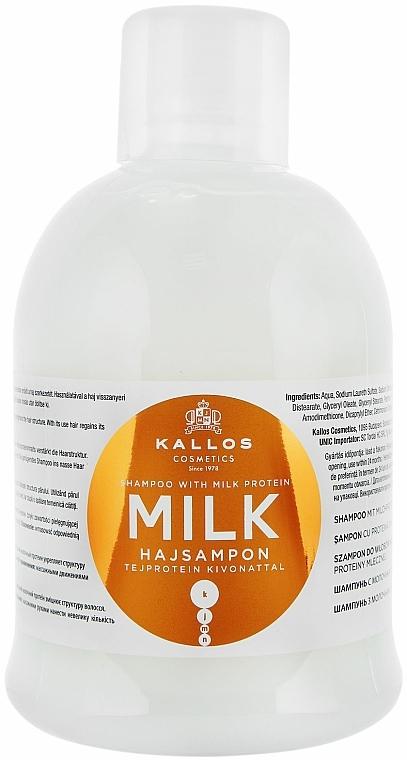 Pflegendes Shampoo mit Milchprotein-Essenz für trockenes und strapaziertes Haar - Kallos Cosmetics Milk Protein Shampoo