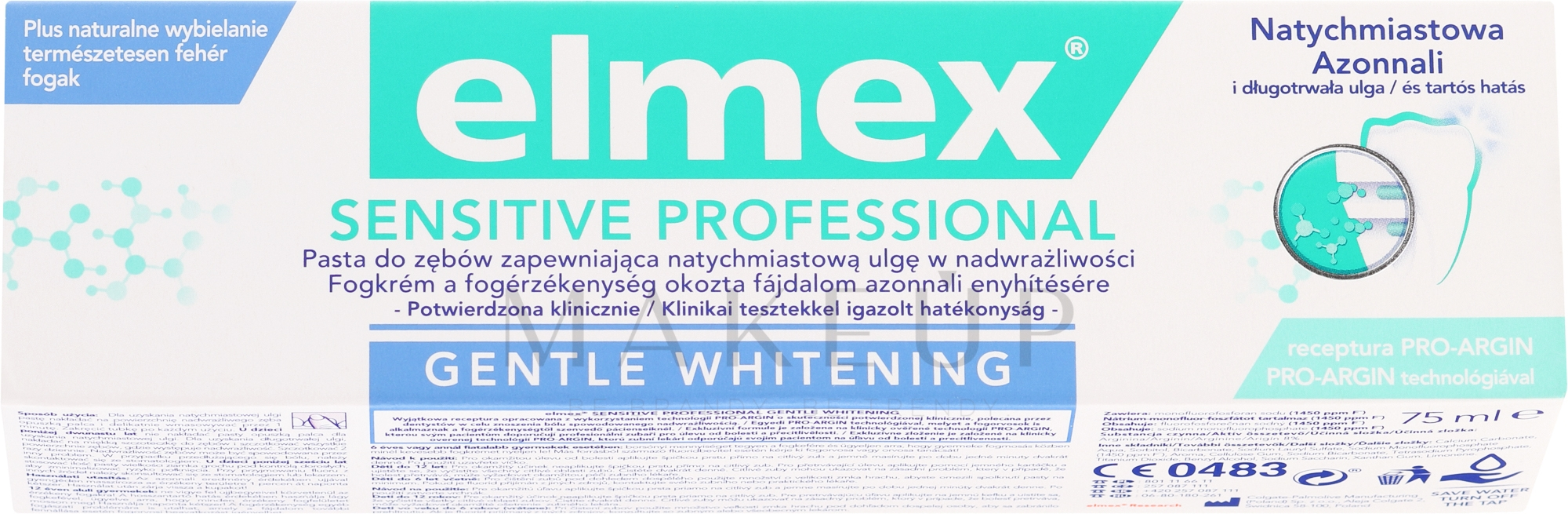 Aufhellende Zahnpasta mit Aminfluorid für empfindliche Zähne - Elmex Professional Sensitive Professional Gentle Whitening — Bild 75 ml