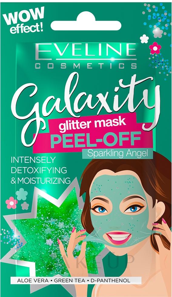 Feuchtigkeitsspendende Peel-Off-Maske für das Gesicht mit grünem Tee, Aloe Vera und D-Panthenol - Eveline Cosmetics Galaxity Glitter Mask Peel-off — Bild 10 g