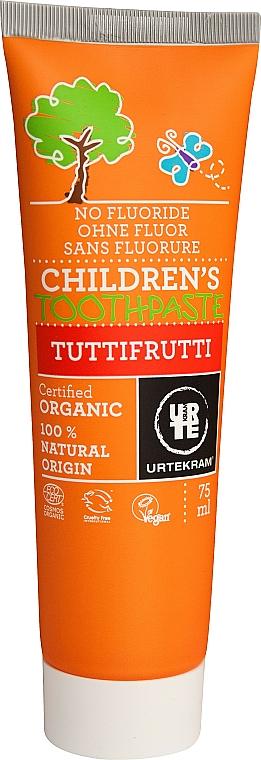 Fluoridfreie Kinderzahnpasta mit fruchtigem Geschmack - Urtekram Childrens Toothpaste Tuttifrutti