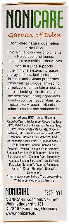 Pflegende Gesichtscreme mit Aloe Vera, Orange, Papaya, Noni, Kokosnuss und UV-Schutz - Nonicare Garden Of Eden Day Face Cream — Bild N3