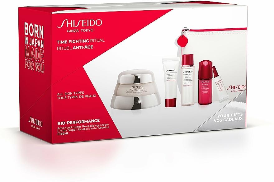 Gesichtspflegeset - Shiseido Bio-Performance Time Fighting Ritual (Gesichtscreme 50ml + Gesichtskonzentrat 10ml + Reinigungsschaum 15ml + Gesichtslotion 30ml + Augenkonzentrat 3ml + Kosmetiktasche)