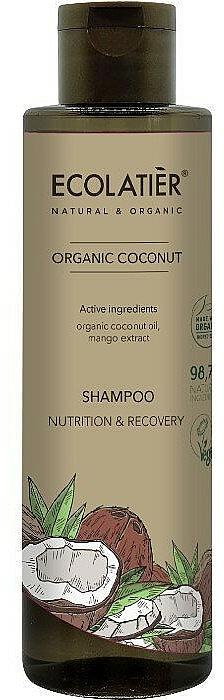 Nährendes und regenerierendes Shampoo mit Bio Kokosnussöl und Mangoextrakt - Ecolatier Organic Coconut Shampoo