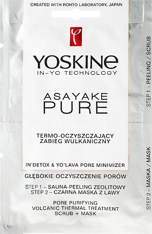 Klärende 2-Schritt-Gesichtsmaske mit Vulkanasche - Yoskine Asayake Pure Pore Purifying Volcanic Thermal Treatment Scrub + Mask