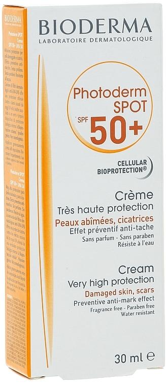 Sonnenschutzcreme für das Gesicht gegen braune und Pigmentflecken SPF 50+ - Bioderma Photoderm Spot SPF 50+ Sun Cream