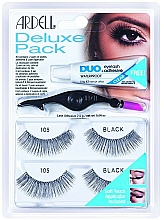 Düfte, Parfümerie und Kosmetik Set Künstliche Wimpern und Wimpernkleber - Ardell Eyelash 105 Deluxe Kit Black