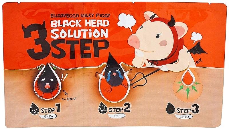3-Schritte Gesichtspflege zur Porenminimierung - Elizavecca Milky Piggy Black Head Solution 3 Step
