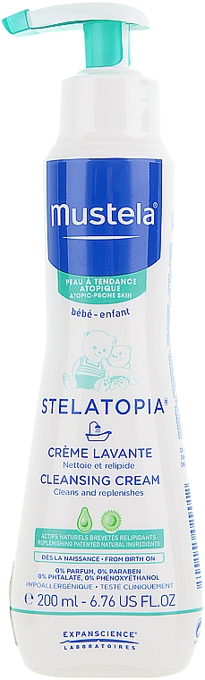 Gesichts- und Körperreinigungscreme von Geburt an - Mustela Stelatopia Cleansing Cream