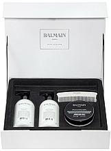 Düfte, Parfümerie und Kosmetik Haarpflegeset - Balmain Paris Hair Couture Silver Revitalizing Care Set (Haarmaske 200ml + Conditioner 300ml + Shampoo 300ml + Kamm)
