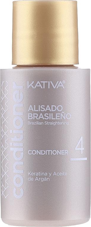 Haarpflegeset mit Keratin - Kativa Alisado Brasileno Con Glyoxylic & Keratina Vegetal Kit (Pre-Behandlung Shampoo 15ml + Behandlung zur Haarglättung 150ml + Shampoo 30ml + Conditioner 30ml + Pinsel 1St. + Handschuhe) — Bild N4