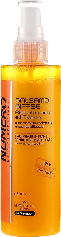 2-Phasiger Conditioner mit Haferextrakt für schwaches und strapaziertes Haar ohne Ausspülen - Brelil Numero Instant Two-phase Oatmeal Hair Conditioner