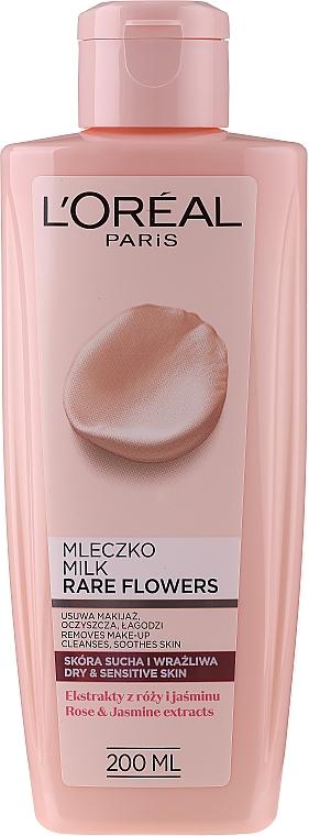 Make Up Reinigungsmilch für trockene und empfindliche Haut - L'Oreal Paris Rare Flowers Cleansing Milk Dry and Sensative Skin