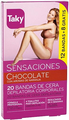 Enthaarungswachssteifen für den Körper mit Schokoladenduft - Taky Chocolate Body Wax Strips With Orange Fragrance Box