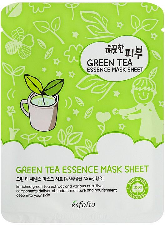 Reinigende Tuchmaske für das Gesicht mit grünem Tee - Esfolio Pure Skin Green Tea Essence Mask Sheet